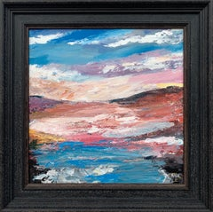 Pink & Blue Expressive Abstract Lake Seascape by Contemporary British Artist