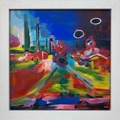 Psychedelic Abstract Landscape Painting of Urban City Scene by British Artist