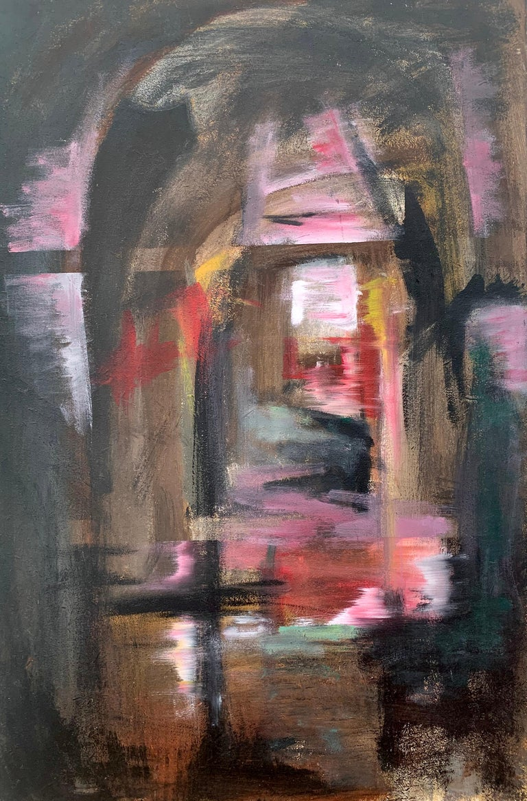 Angela Wakefield Landscape Painting - Railway Arches & Bridges Abstract Expressionist Art by Modern British Painter