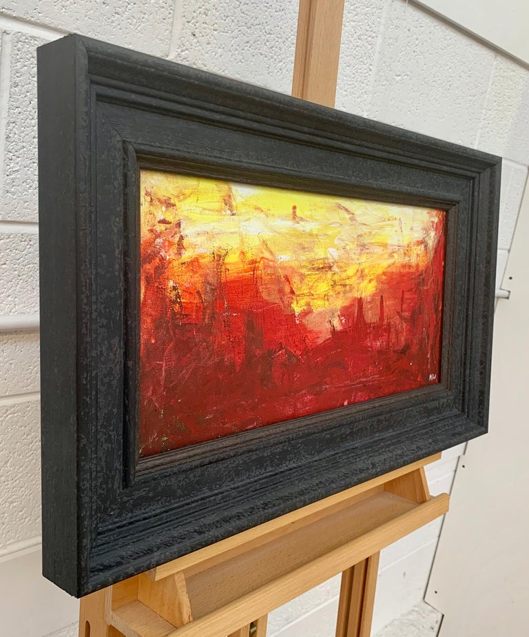 Red & Yellow Abstract Expressionist Landscape Painting by British Urban Artist For Sale 1