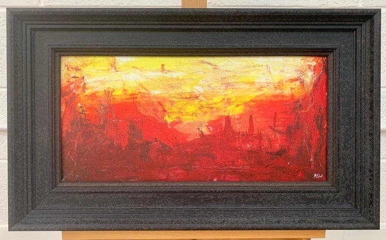 Red & Yellow Abstract Expressionist Landscape Painting by British Urban Artist For Sale 2