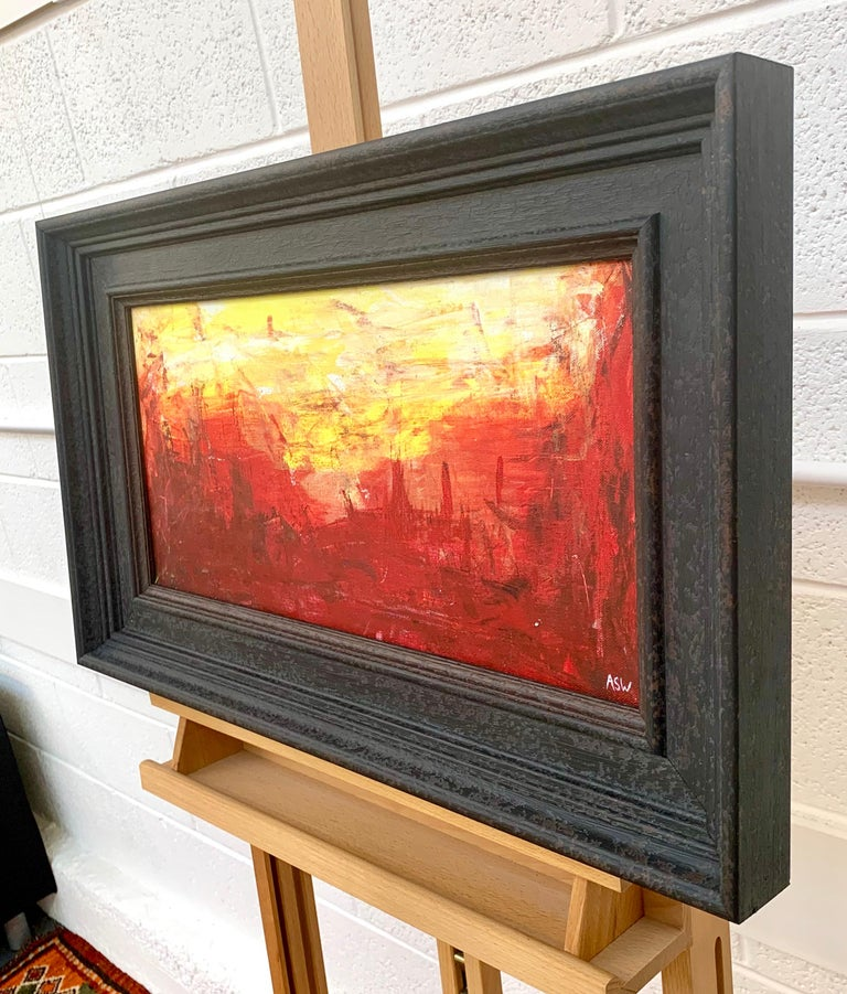 Red & Yellow Abstract Expressionist Landscape Painting by British Urban Artist For Sale 3