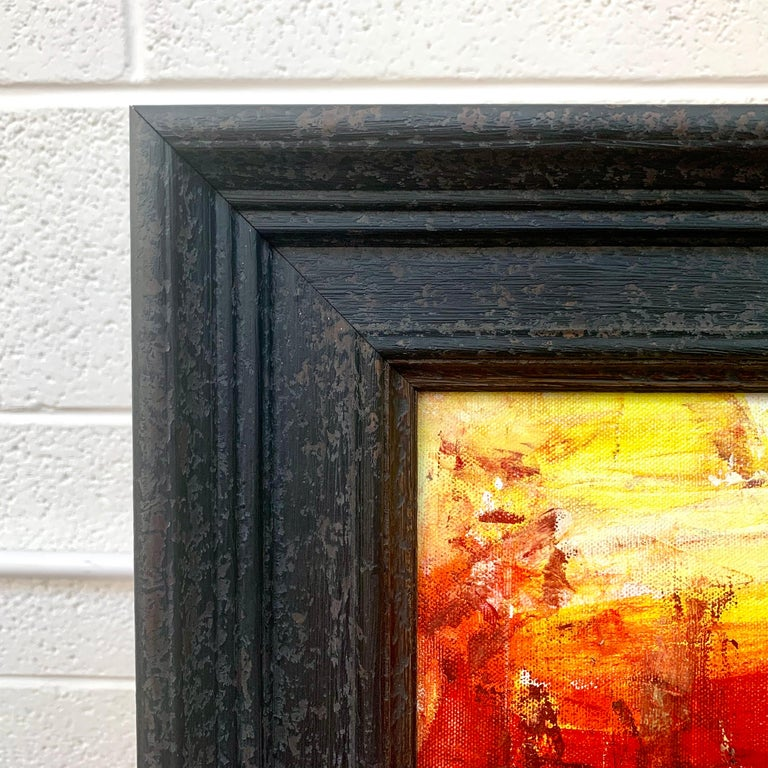 Red & Yellow Abstract Expressionist Landscape Painting by British Urban Artist For Sale 4