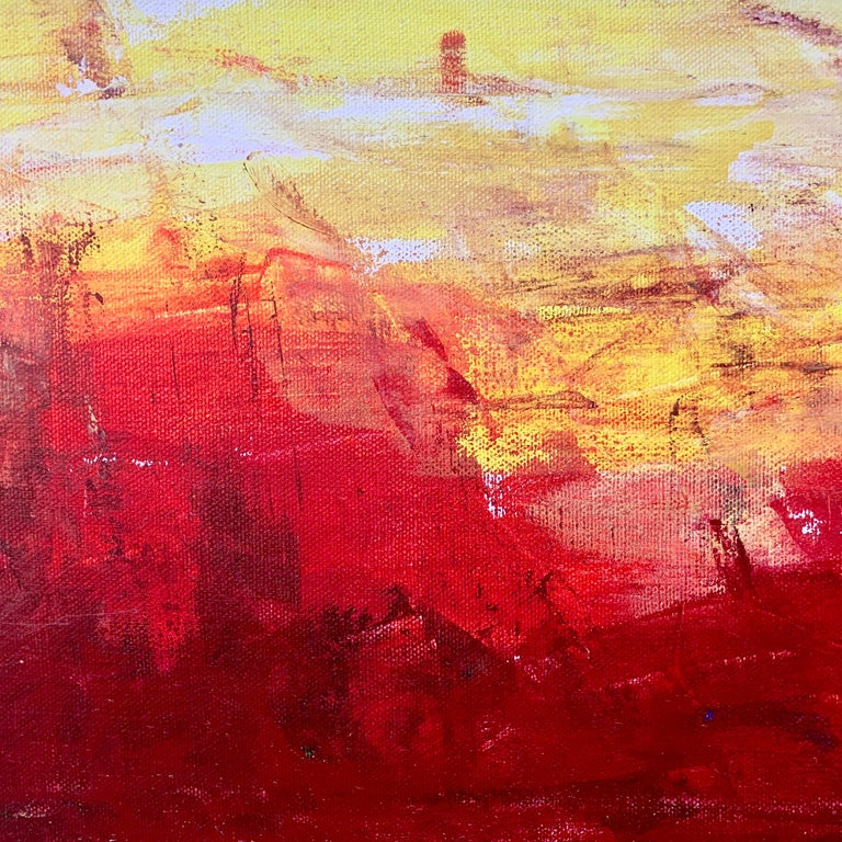Red & Yellow Abstract Expressionist Landscape Painting by British Urban Artist For Sale 7