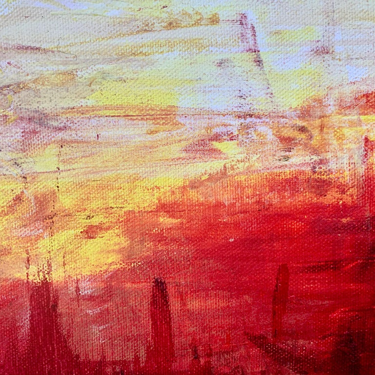 Red & Yellow Abstract Expressionist Landscape Painting by British Urban Artist For Sale 8