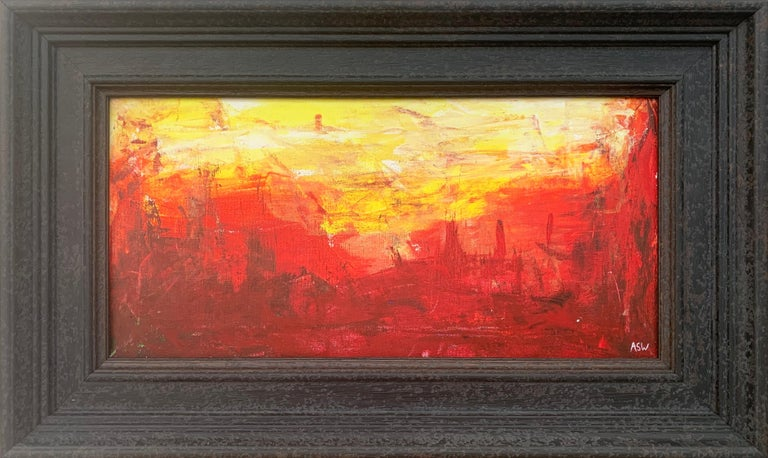 Red & Yellow Abstract Expressionist Landscape Painting by British Urban Artist - a rare early work from Leading British Urban Artist, Angela Wakefield. This artwork is from an intense body of abstract work that formed the very foundations of her