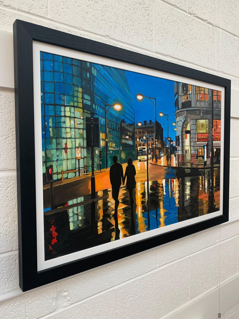 Reflections in the Rain Manchester City Street Scene England by British Artist - Contemporary Painting by Angela Wakefield