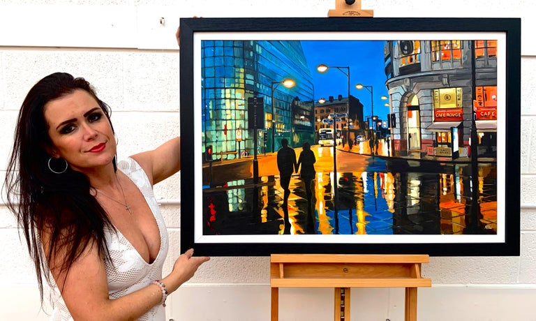 Reflections in the Rain Manchester City Street Scene England by British Artist - Painting by Angela Wakefield