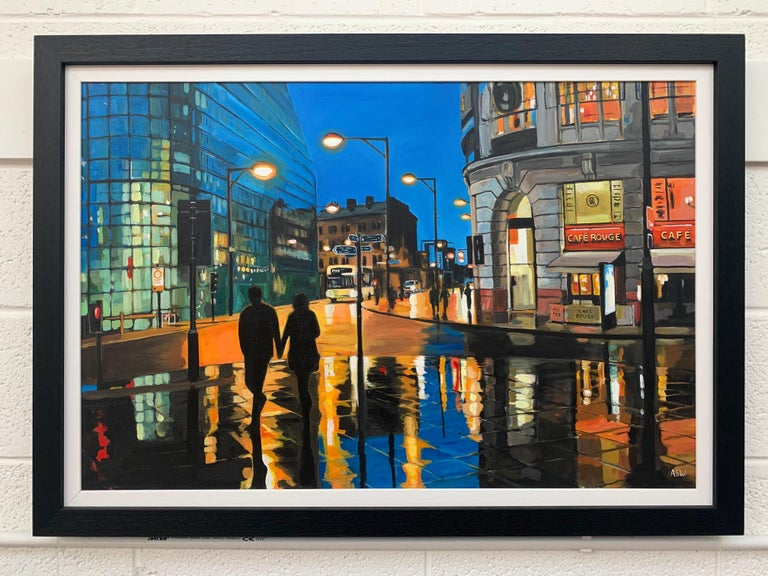 Reflections in the Rain Manchester City Street Scene England by British Artist - Black Figurative Painting by Angela Wakefield