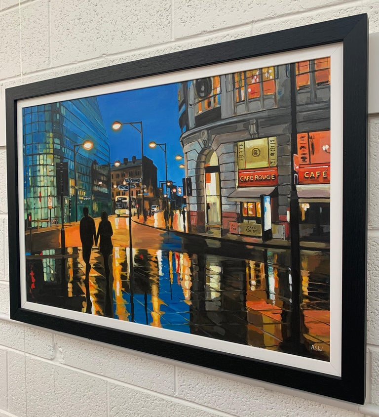 Reflections in the Rain - an Original Painting of a City Street Scene in Manchester, England, by British Cityscape Artist Angela Wakefield. It captures the changing nature of Manchester, both the old and the new. The characteristically damp