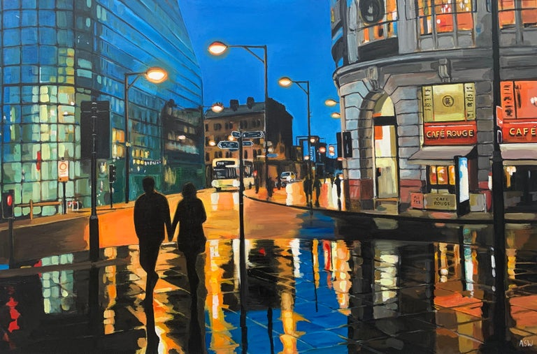 Reflections in the Rain Manchester City Street Scene England by British Artist For Sale 1