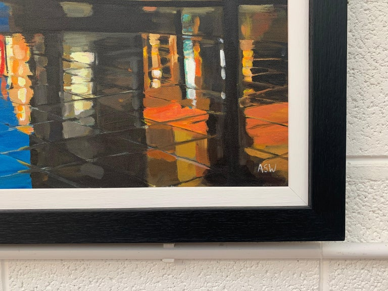 Reflections in the Rain Manchester City Street Scene England by British Artist For Sale 2