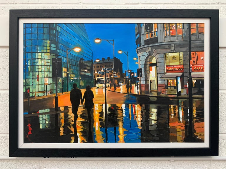 Reflections in the Rain Manchester City Street Scene England by British Artist For Sale 4