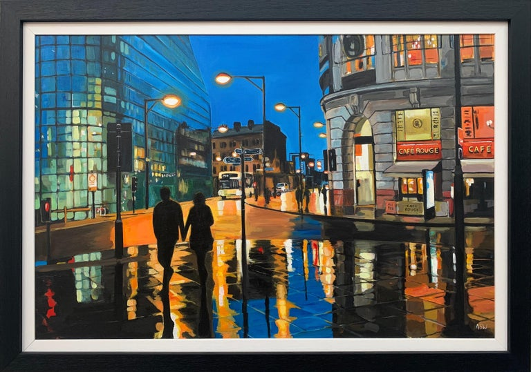 Angela Wakefield Figurative Painting - Reflections in the Rain Manchester City Street Scene England by British Artist