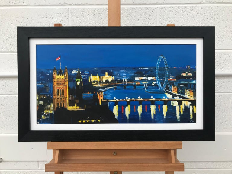 River Thames London at Night Cityscape Art by British Urban Landscape Artist UK - Painting by Angela Wakefield