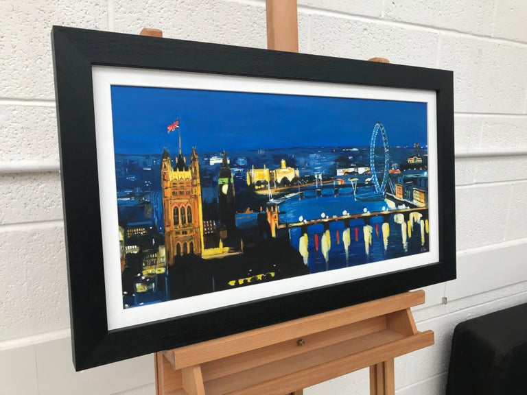 River Thames London at Night Cityscape Art by British Urban Landscape Artist UK - Black Figurative Painting by Angela Wakefield