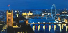 River Thames London at Night Cityscape Art by British Urban Landscape Artist UK