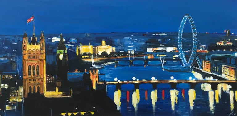 Angela Wakefield Figurative Painting - River Thames London at Night Cityscape Art by British Urban Landscape Artist UK