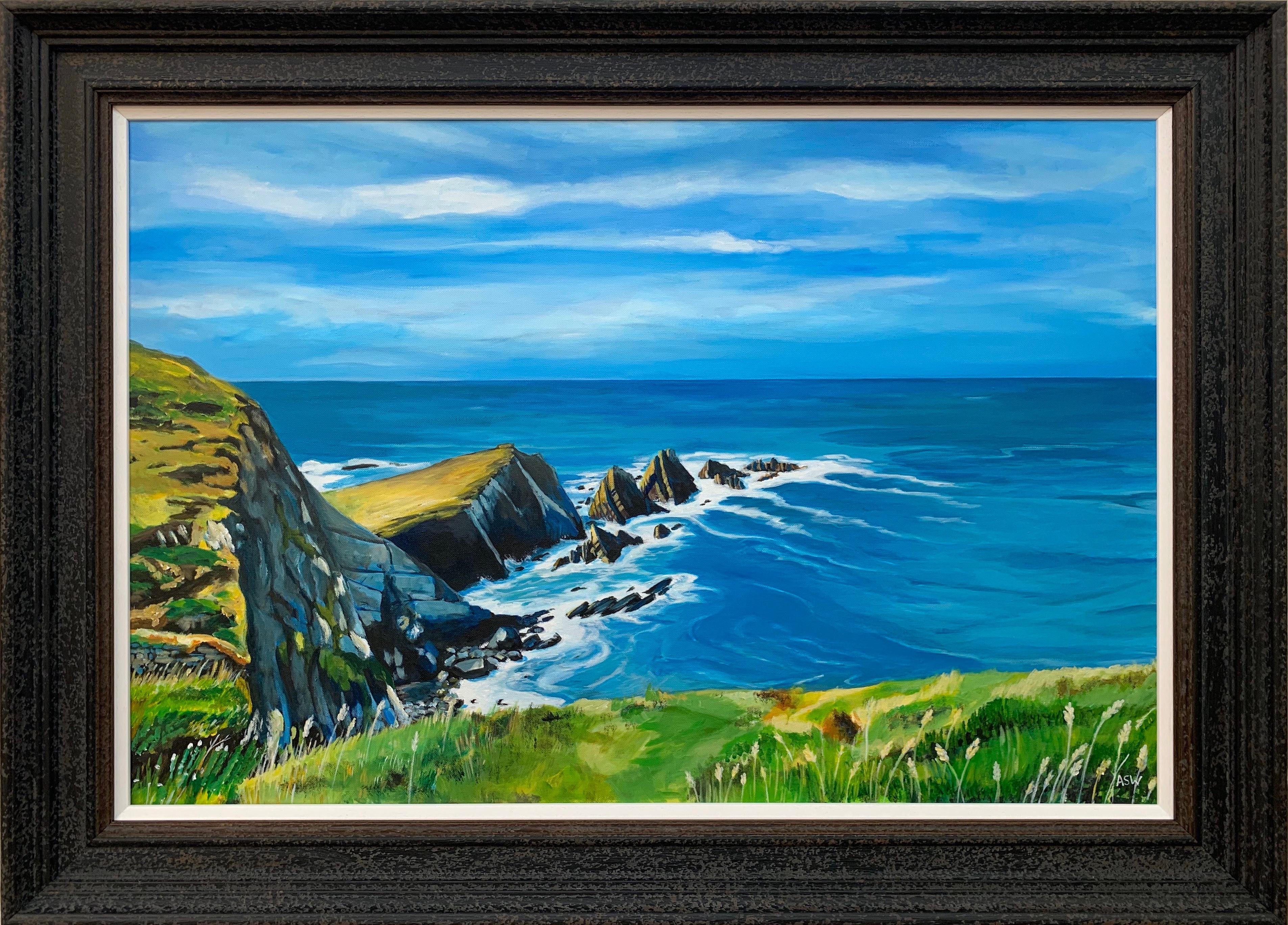Seascape Landscape Painting of Hartland Point in Devon England by British Artist