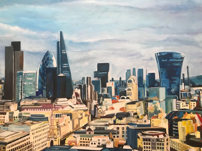 Original Painting City of the London Skyline by Collectible British Urban Artist For Sale 2