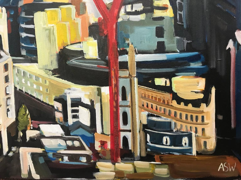 Original Painting City of the London Skyline by Collectible British Urban Artist For Sale 3