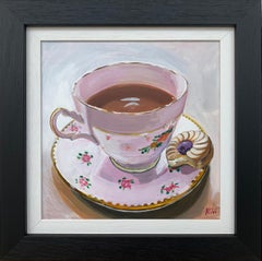 Still Life Painting of English Bone China Tea Cup & Biscuit by British Artist