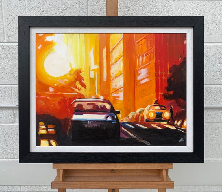 Street Study of Manhattan Henge Sunshine New York City by English Urban Artist - Young British Artists (YBA) Painting by Angela Wakefield