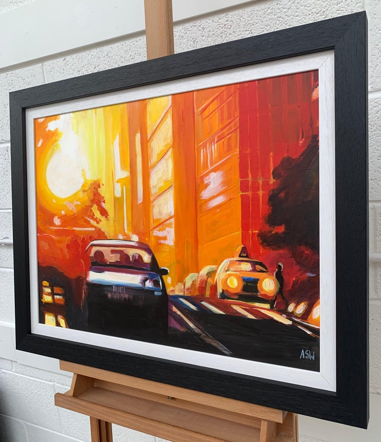 Street Study of Manhattan Henge Sunshine New York City by English Urban Artist - Orange Landscape Painting by Angela Wakefield