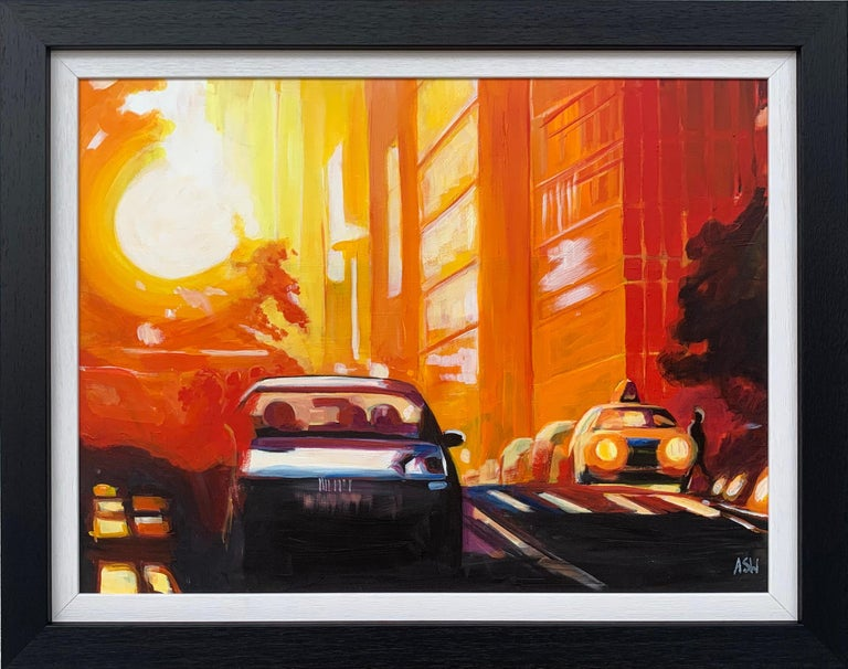 Angela Wakefield Landscape Painting - Street Study of Manhattan Henge Sunshine New York City by English Urban Artist