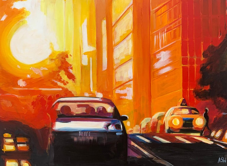 This unique original painting is a study of 42nd Street at Manhattan Henge in New York City, by English Urban Artist, Angela Wakefield.   Art measures 24 x 18 inches Frames measures 28 x 22 inches  Angela Wakefield has twice been on the front cover