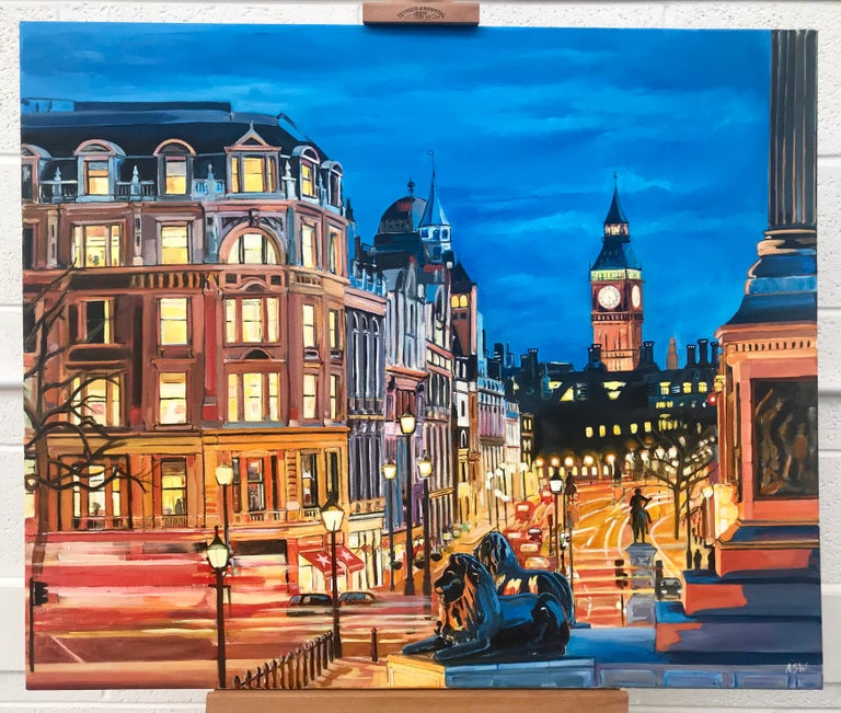 Trafalgar Square, Big Ben, Westminster London by British Cityscape Artist - Realist Painting by Angela Wakefield