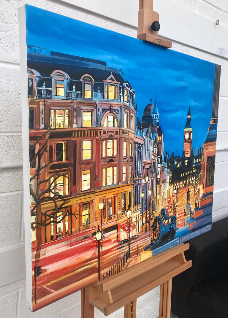 An original painting of Westminster from Trafalgar Square with Big Ben, London, by leading British urban landscape artist, Angela Wakefield.  Angela has produced numerous paintings of London over the last decade. Her paintings are strong, colourful
