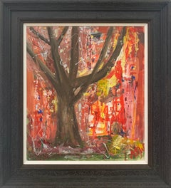 Tree with Red Pink & Yellow Abstract Background by British Landscape Artist