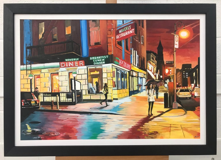 American Diner Greenwich Village 6th Avenue New York City NYC by British Artist - Brown Landscape Painting by Angela Wakefield