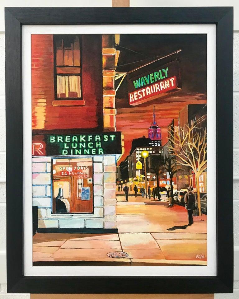 Street Corner Greenwich Village 6th Avenue New York City NYC by British Artist - Brown Landscape Painting by Angela Wakefield