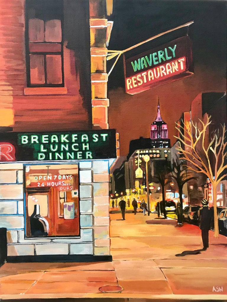 Angela Wakefield Landscape Painting - Street Corner Greenwich Village 6th Avenue New York City NYC by British Artist