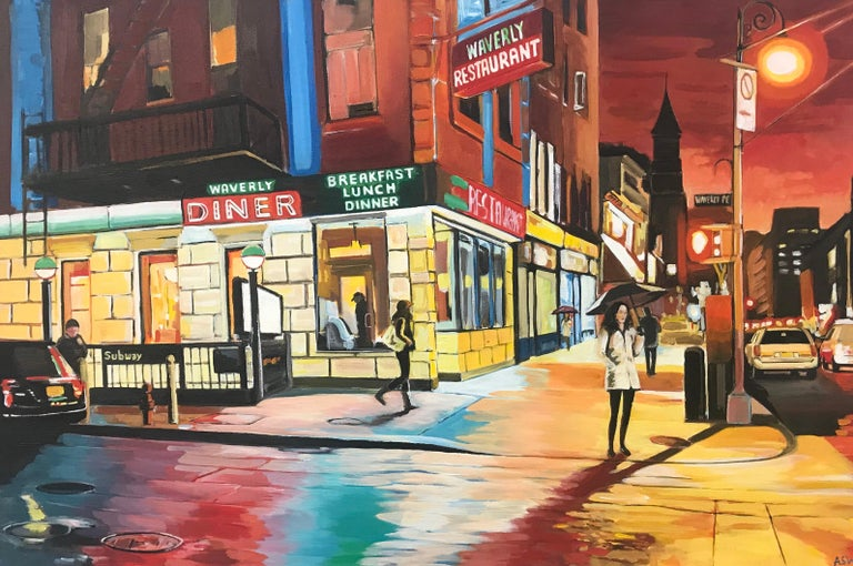 American Diner Greenwich Village 6th Avenue New York City NYC by British Artist For Sale 1