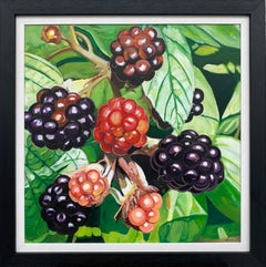 Wild Blackberries in English Country Garden Colourful Painting by British Artist