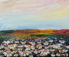 Wild Daisy English Countryside Landscape Painting by Contemporary Artist