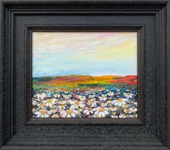Wild Daisy Flowers English Countryside Landscape Painting by Contemporary Artist