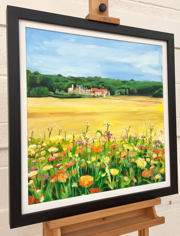 Painting of a French Chateau & Wild Flowers in a Field by English Landscape Artist, Angela Wakefield. A rare rural unique original of Burgundy, France. During 2012, Angela embarked upon her European Series, which initially focuses on the unique