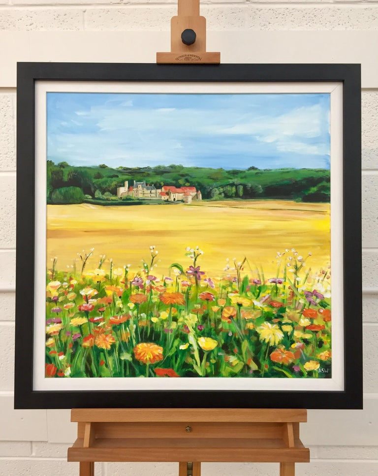Painting of French Chateau & Wild Flowers in a Field by English Landscape Artist For Sale 1