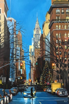 Painting of Christmas in New York with Chrysler Building by British Urban Artist