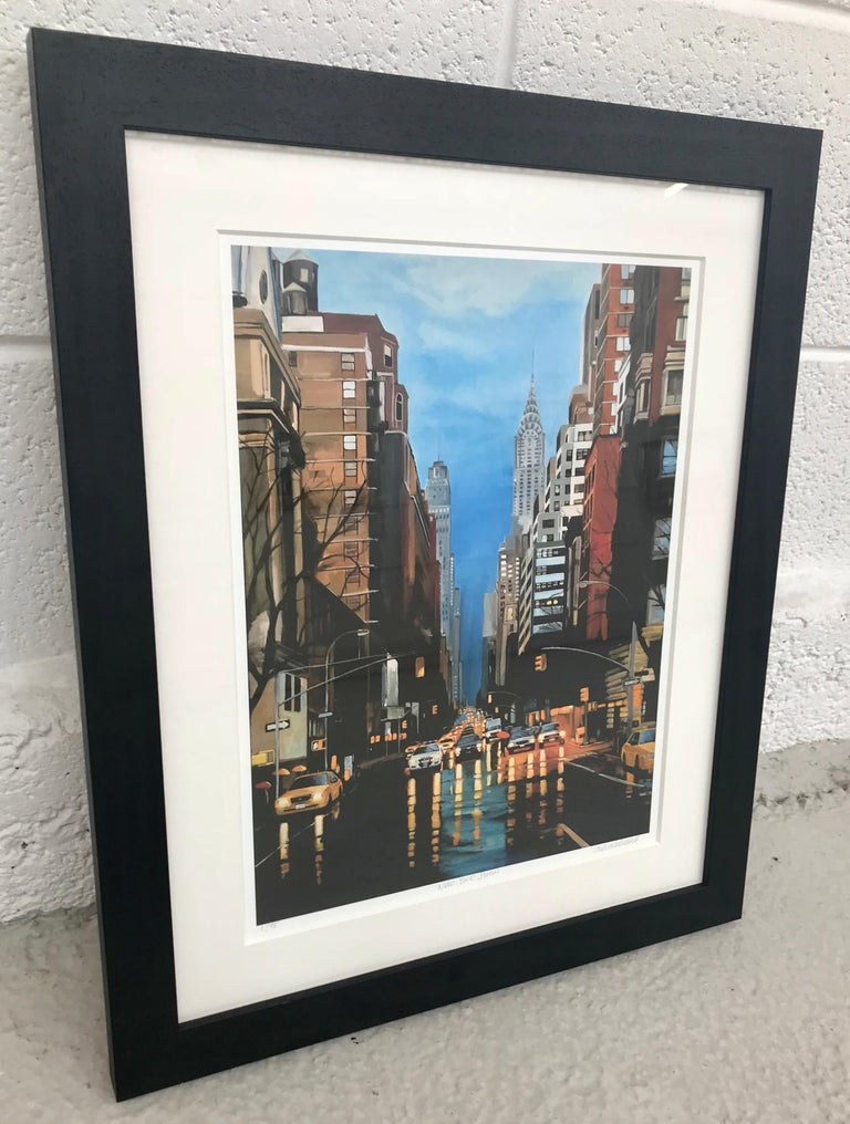 Painting of New York Storm Rain on 42nd Street by Leading British Urban Artist - Print by Angela Wakefield