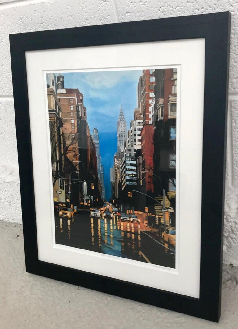 Painting of New York Storm Rain on 42nd Street by Leading British Urban Artist For Sale 2