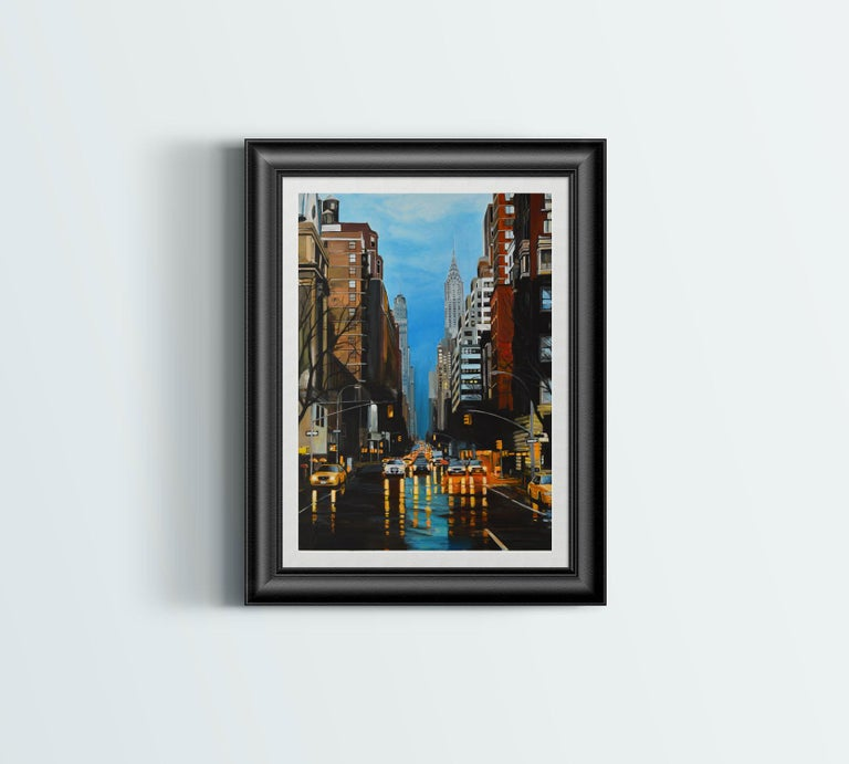 Painting of New York Storm Rain on 42nd Street by Leading British Urban Artist For Sale 3