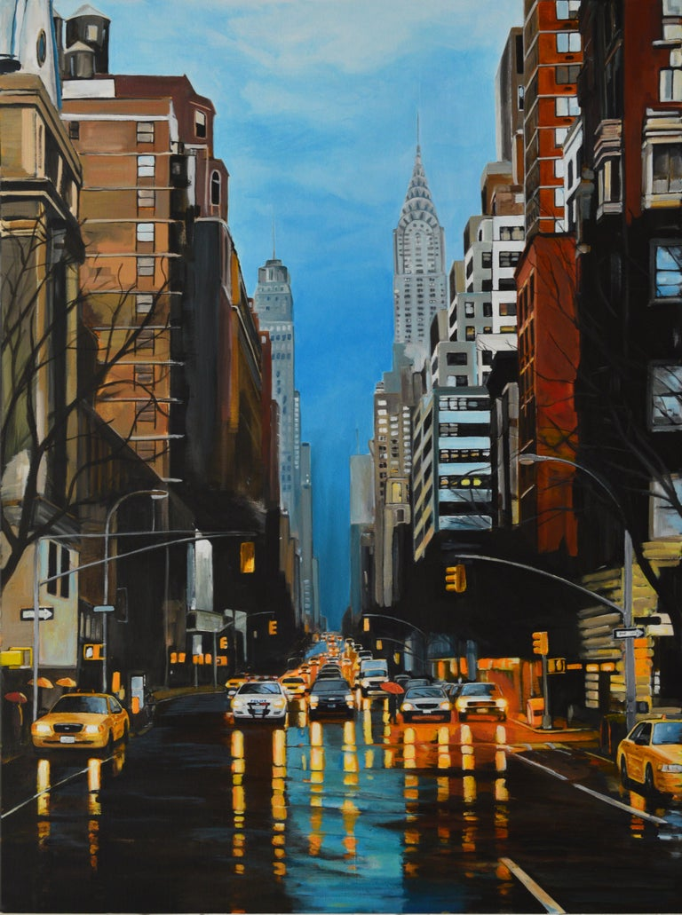 A high quality hand-signed limited edition print entitled 'New York Storm' on 42nd Street with the Chrysler Building by Leading British Urban Landscape Artist, Angela Wakefield. Part of her New York Series, comes mounted, framed and glazed. With