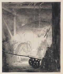 La Forge - Original Etching by A. Delasalle - 1904