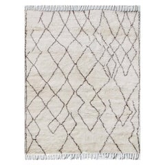 Angelfire Cream and Chocolate Abstract Grid Hand-Knotted Wool Rug
