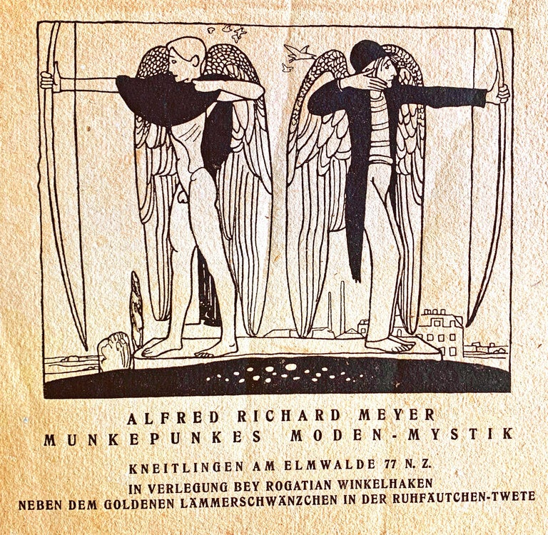 Rare and beautifully produced, this small booklet of poetry by Alfred Richard Meyer was published in 1921 with a stylized cover illustration by Richard Scheibe depicting two archers with angel wings, standing back to back, one nude and the other